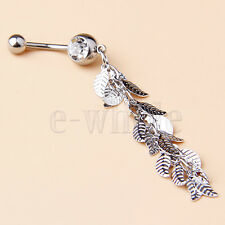 Solid Leaves Long String Dazzling Dangling Belly Ring Navel Bar 75mm HM