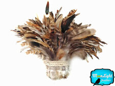 1 Yard - BROWN Chinchilla Strung Schlappen Rooster Wholesale Feathers (bulk)