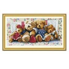 Needlepoint 11CT Counted Cross Stitch Kit MY FAMILY BEAR Animal Theme NEW GIFT