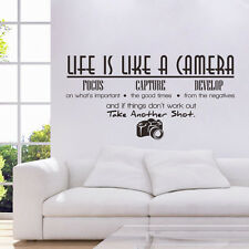 Creative Life Is Like A Camera Quote Wall Stickers Decals Office Mural DIY