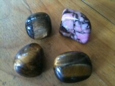 3x TIGER EYE TIGER'S EYES & 1x PINK AGATE