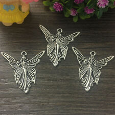 Tibetan Silver Bead charms Pendants fit bracelet 2pcs 36x37mm Butterfly Fairy