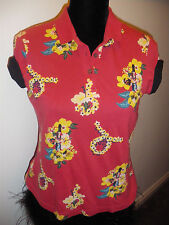 BNWT AMY WINEHOUSE FRED PERRY HAWAIIAN RED POLO TOP SIZE 12 EUR 40 USA 8