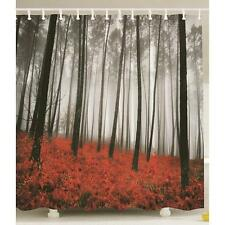Foggy Scene Printed Black Trees Mystic Forest  Red Grass Fabric Shower Curtain