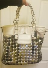 Coach Ltd Ed White Bonnie Metallic Disk Chain Link Travel Tote Bag Satchel RARE!
