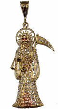 Santa Muerte-Holy Death-Grim Reaper 18K Gold Plated Cubic Zirconia and  24Chain