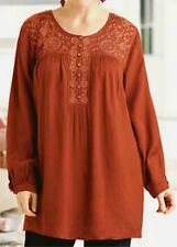 "Ulla Popken AUTUMN Tonal Embroidered Tunic 12 14 XL NEW  ""q"