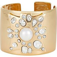 $290 Kenneth Jay Lane Gold PEARL Maltese Cross Cuff Bracelet NWT!