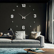 Modern Art Design Big DIY 3D Mirror Wall Workable Clock Home Decor  Gift