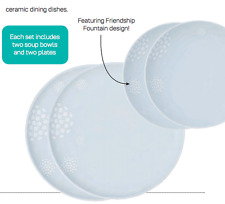 Tupperware Chic Ceramic Plates and Bowls Set of 4 Friendship Fountain Design New