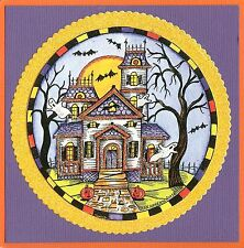 HALLOWEEN Haunted House Circle Wood Mounted Rubber Stamp NORTHWOODS PP9814 New