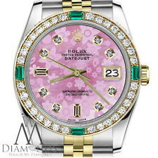 Ladies Rolex 26mm Datejust 2 Tone Glossy Pink Flower Emerald 8+2 Diamond Accent