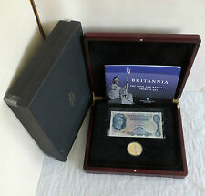2009 BRITANNIA TDC SILVER £5 COIN AND O'BREIN £5 BANKNOTE TRIBUTE SET -boxed/coa