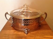 Very fancy Antique 1914 Rare Pyrex oblong casserole with metal silver holder