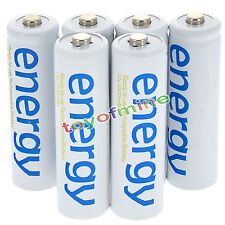 6x AA 2A 3300mAh 1.2V Ni-Mh Energy Rechargeable Battery White Cell for RC MP3