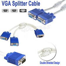 15 Pin VGA PC SVGA Male to 2 Dual Double Female Monitor Y Adapter Splitter Cable