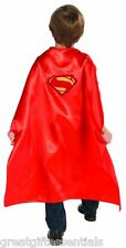 SUPERMAN CHILD CAPE Man Of Steel Satin Super Man Kids Costume Red LICENSED NEW