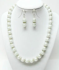 Swarovski Crystal Rhinestone & White Glass Pearls Necklace with Earrings Set