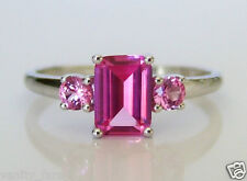 Beautiful 9ct White Gold Pink Sapphire Ring Size L