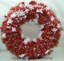 "Darice Christmas Artificial DIY Wreath - Metallic Tinsel Garland 20"" Red White"
