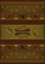 Rustic Lodge Log Cabin Decor Bear Fish 2X3 Area Rug Carpet New