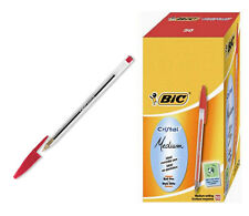 50 BOLÍGRAFOS BIC CRISTAL MEDIO MEDIUM PUNTA DE 1 mm ROJO BOX Sellado
