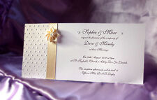 Vintage Couture Wedding/Evening Invites x50 - White Card. Flower or Flat Bow