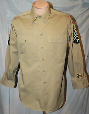 WWII US ARMY KHAKI SHIRT W 10TH ARMY & WESTERN PACIFIC COMMAND TECH 4 CHEVRONS