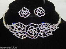 Bridal Silver W.AB Iridescent Rhinestone Choker Flower Necklace & Earrings Set