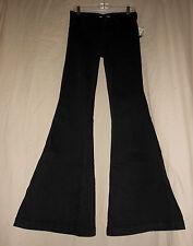 FREE PEOPLE W 27 NWT Black Denim Stretch Bell Bottom Flare Jeans Hippie 27X34