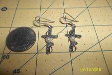 Sterling Silver Cross Earrings W/ Pearls hooks  marcasite