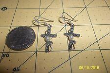 Sterling Silver Cross Earrings W/ Pearls hooks  marcasite