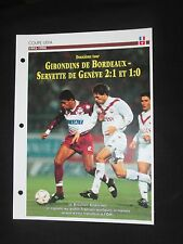 BORDEAUX SERVETTE GENEVE 1993-1994 16° C3 COUPE D EUROPE FICHE FOOT PASSION XL