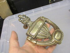 Antique Brass Door Knocker Victorian Architectural Salvage Gilt Leaf Beading Old