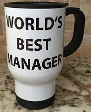 Travel Coffee Tea Mug Stainless Steel White WORLD'S BEST MANAGER New Great Gift