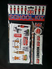 SCHOOL KIT, ZIP BAG,SCALE, PENCIL, ERASER,  SHARPNER, LONDON SOUVENIR GIFT