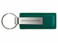 University of North Texas - Leather and Metal Keychain - Green
