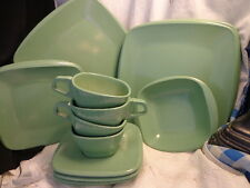 17 pc Harmony House Melmac Melamine Dishes Talk of the Town Green VGC Estate