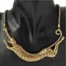 Ffashion Leopard Animal Gold Plated Pendant Collar Carved Chunky Necklace Chain