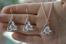 ** ladies stylish 925 sterling silver crystal flower pendant  and earring set**