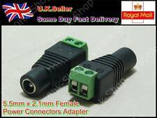 5.5 mm X 2.1 mm Dc Power Jack Hembra Cable Conector Adaptador Plug cctv/led Tiras