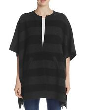 NEW EILEEN FISHER CHARCOAL BLACK REVERSIBLE FELTED MERINO STRIPE PONCHO M/L $538