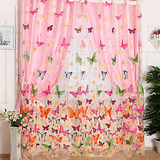 Modern Butterfly Print Sheer Curtain Panel Window Balcony Tulle Room Divider