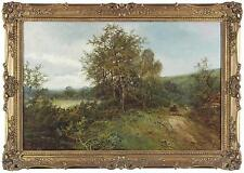 William Langley Antique Large Oil Painting Country Wood Figures Signed