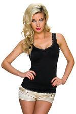 Damen Träger Top Trägertop Shirt mit Spitze Party Club Mode Freizeit S 32 34 36