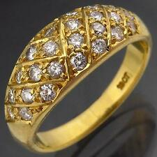 Scintillating 18K GOLD 25 DIAMOND ETERNITY GRID RING solid yellow estate Sz N1/2