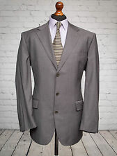 M&S Striped Herringbone Grey Single Breasted Collezione Suit Jacket 44R