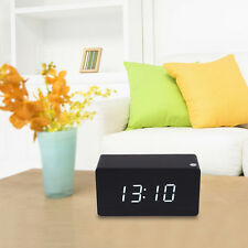 Morden Mini White LED Black Wood Wooden Digital Alarm Clock Calendar Thermometer