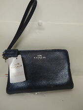 Coach Crossgrain Leather Wristlet Metallic Midnight F54626 NWT LQQK