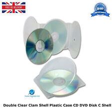 5 X DOPPIO CHIARO Clam Shell Custodia in PLASTICA CD DVD memoria su disco BLOCCO 2 DISCO SHELL C
